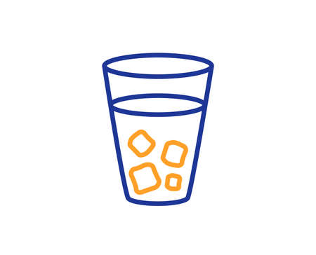 Ice tea line icon. Soda drink sign. Fresh cold beverage symbol. Colorful outline concept. Blue and orange thin line color icon. Ice tea Vector