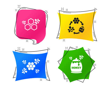 Honey icon. Honeycomb cells with bees symbol. Sweet natural food signs. Geometric colorful tags. Banners with flat icons. Trendy design. Vector Stock Vector - 112887690