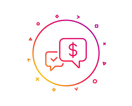 Payment receive line icon. Dollar exchange sign. Finance symbol. Gradient pattern line button. Payment received icon design. Geometric shapes. Vector  イラスト・ベクター素材