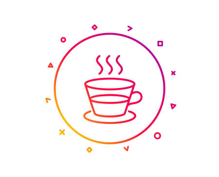 Coffee and Tea line icon. Hot drink sign. Fresh beverage symbol. Gradient pattern line button. Coffee cup icon design. Geometric shapes. Vector Illustration