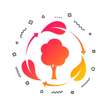 Fresh air sign icon. Forest tree with leaves symbol. Colorful geometric shapes. Gradient fresh air icon design.  Vector