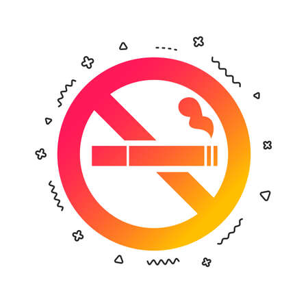 No Smoking sign icon. Cigarette symbol. Colorful geometric shapes. Gradient smoking icon design.  Vector