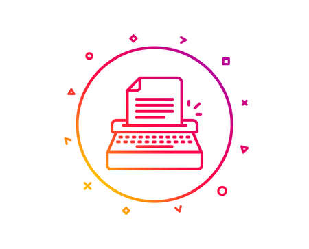 Typewriter line icon. Copywriting sign. Writer machine symbol. Gradient pattern line button. Typewriter icon design. Geometric shapes. Vector Illusztráció