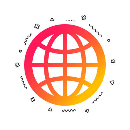 Globe sign icon. World symbol. Colorful geometric shapes. Gradient globe icon design.  Vector
