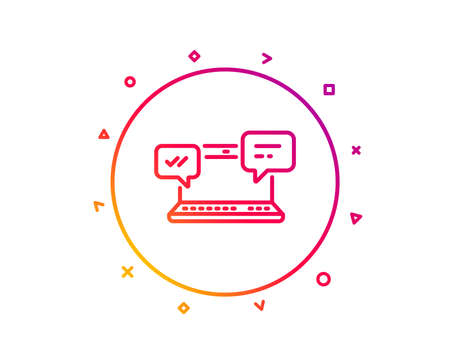 Internet Messages line icon.  Chat or Conversation sign. Computer communication symbol. Gradient pattern line button. Internet Chat icon design. Geometric shapes. Vector