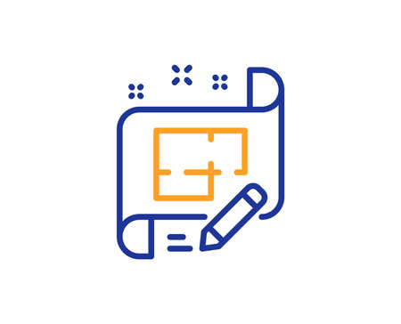 Architect line icon. Engineering plan sign. Edit project document. Colorful outline concept. Blue and orange thin line color Architect plan icon. Vector