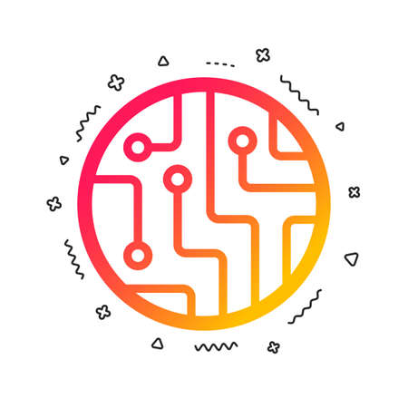 Circuit board sign icon. Technology scheme circle symbol. Colorful geometric shapes. Gradient circuit board icon design. Vector