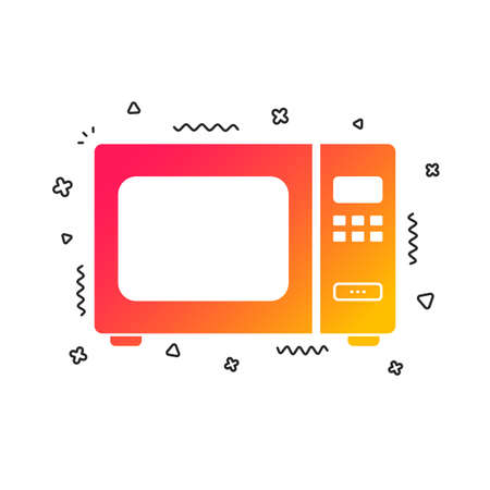 Microwave oven sign icon. Kitchen electric stove symbol. Colorful geometric shapes. Gradient microwave icon design.  Vector Illustration