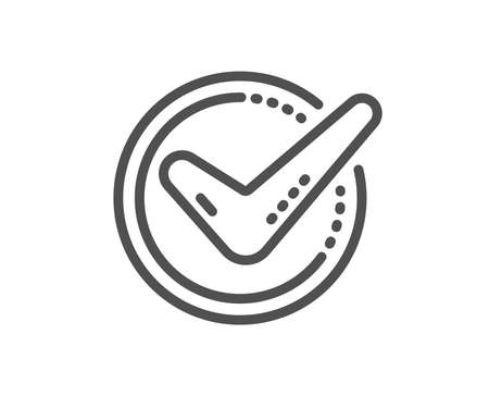 Check mark line icon. Accepted or Approve sign. Tick symbol. Quality design flat app element. Editable stroke Confirmed icon. Vector