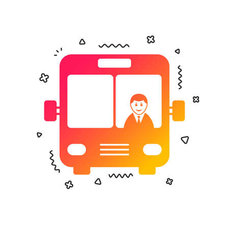 Bus sign icon. Public transport with driver symbol. Colorful geometric shapes. Gradient bus icon design.  Vector