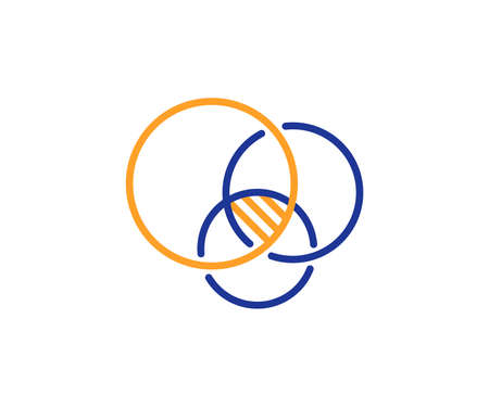 Euler diagram line icon. Eulerian circles sign. Relationships chart symbol. Colorful outline concept. Blue and orange thin line color Euler diagram icon. Vector