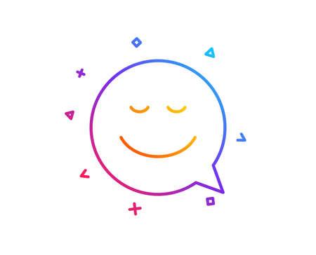 Comic speech bubble with Smile line icon. Chat emotion sign. Gradient line button. Smile icon design. Colorful geometric shapes. Vector Ilustração