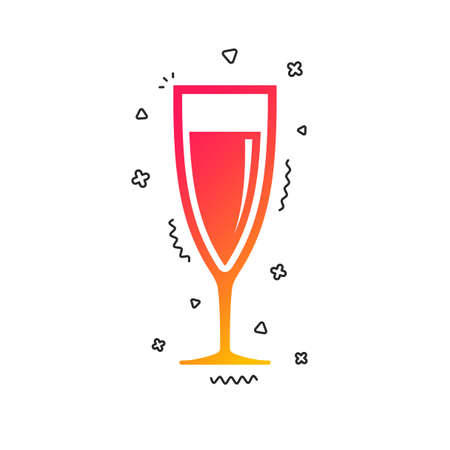 Glass of champagne sign icon. Sparkling wine. Celebration or banquet alcohol drink symbol. Colorful geometric shapes. Gradient champagne icon design.  Vector Illusztráció