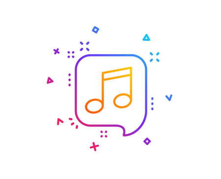 Musical note in speech bubble line icon. Music sign. Gradient line button. Musical note icon design. Colorful geometric shapes. Vector  イラスト・ベクター素材