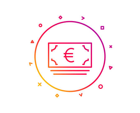 Cash money line icon. Banking currency sign. Euro or EUR symbol. Gradient pattern line button. Euro currency icon design. Geometric shapes. Vector Illustration