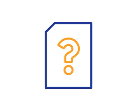 Unknown Document line icon. File with Question mark sign. Untitled Paper page concept symbol. Colorful outline concept. Blue and orange thin line color icon. Unknown file Vector