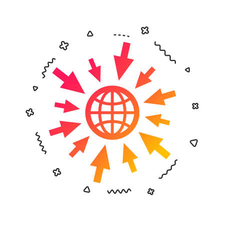 Go to Web icon. Globe with mouse cursor sign. Internet access symbol. Colorful geometric shapes. Gradient web icon design.  Vector Stock Vector - 112672889