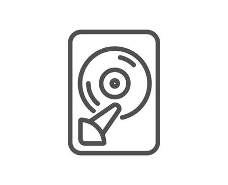 Hdd line icon. Computer memory component sign. Data storage symbol. Quality design flat app element. Editable stroke Hdd icon. Vector Illustration