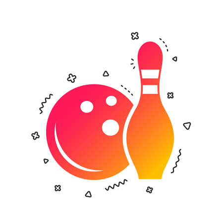 Bowling game sign icon. Ball with pin skittle symbol. Colorful geometric shapes. Gradient bowling icon design.  Vector