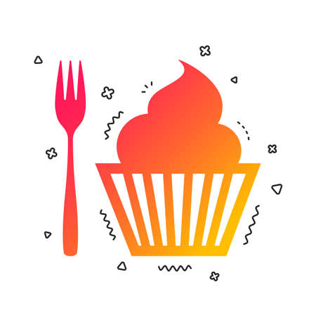 Eat sign icon. Dessert trident fork with muffin. Cutlery symbol. Colorful geometric shapes. Gradient eat icon design.  Vector Illusztráció