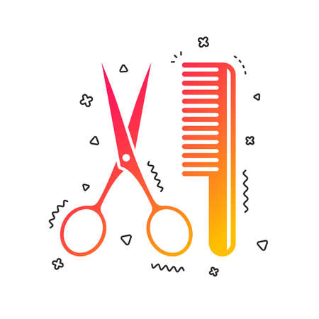 Comb hair with scissors sign icon. Barber symbol. Colorful geometric shapes. Gradient hairdresser icon design.  Vector Illustration