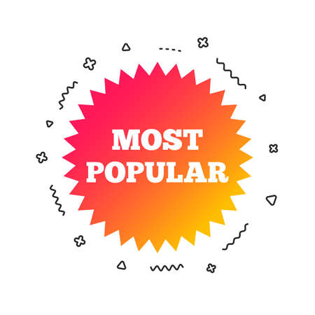 Most popular sign icon. Bestseller symbol. Colorful geometric shapes. Gradient popular icon design.  Vector 일러스트