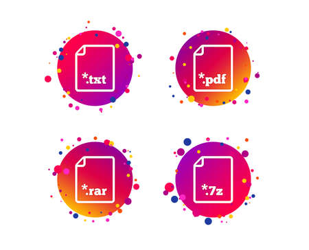 Download document icons. File extensions symbols. PDF, RAR, 7z and TXT signs. Gradient circle buttons with icons. Random dots design. Vector