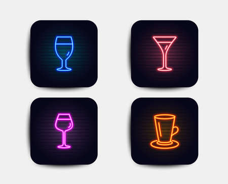 Neon set of Martini glass, Bordeaux glass and Teacup icons. Wine, Brewery beverage, Tea or latte. Neon icons. Glowing light banners. Vector