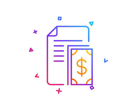 Payment line icon. Document with cash money symbol. Dollar currency sign. Gradient line button. Payment icon design. Colorful geometric shapes. Vector