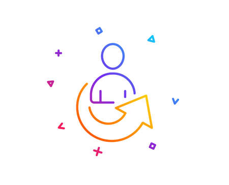 Share line icon. Business management sign. Employee, Manager refer symbol. Gradient line button. Share icon design. Colorful geometric shapes. Vector