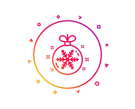 Christmas ball with snowflake line icon. New year tree decoration sign. Gradient pattern line button. Christmas ball icon design. Geometric shapes. Vector 일러스트