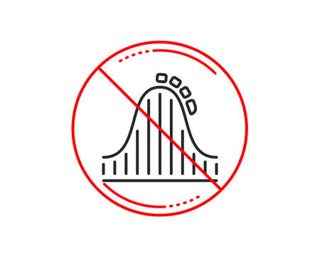 No or stop sign. Roller coaster line icon. Amusement park sign. Carousels symbol. Caution prohibited ban stop symbol. No  icon design.  Vector Иллюстрация