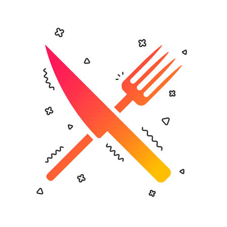 Food sign icon. Cutlery symbol. Knife and fork. Colorful geometric shapes. Gradient food icon design.  Vector Banque d'images - 112672966