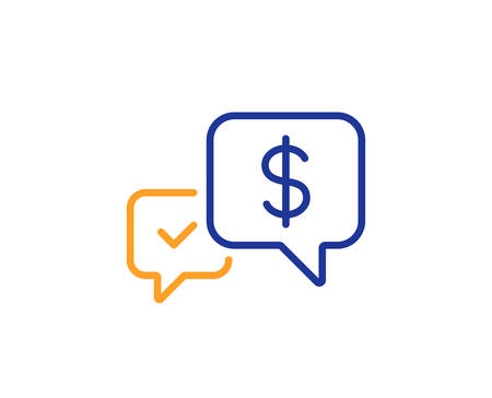 Payment receive line icon. Dollar exchange sign. Finance symbol. Colorful outline concept. Blue and orange thin line color icon. Payment received Vector