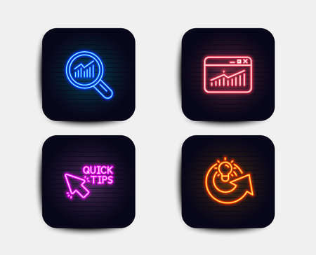 Neon set of Data analysis, Quick tips and Website statistics icons. Share idea sign. Magnifying glass, Helpful tricks, Data analysis. Solution. Neon icons. Glowing light banners. Vector