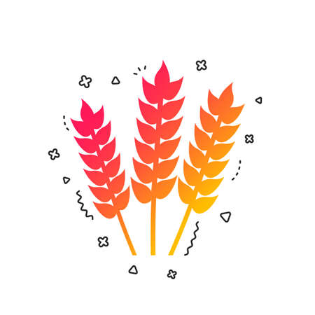 Agricultural sign icon. Gluten free or No gluten symbol. Colorful geometric shapes. Gradient agriculture icon design. Vector