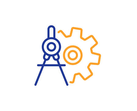 Cogwheel dividers line icon. Engineering tool sign. Cog gear symbol. Colorful outline concept. Blue and orange thin line color Cogwheel dividers icon. Vector