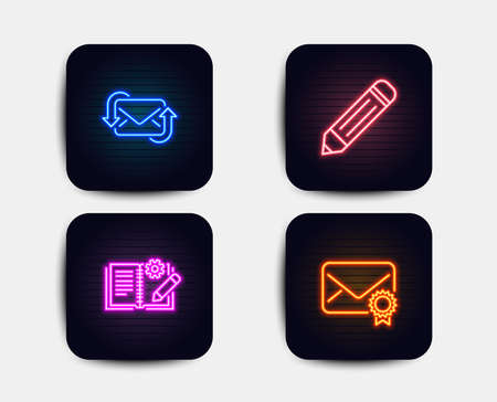 Neon glow lights. Set of Refresh mail, Engineering documentation and Pencil icons. Verified mail sign. New e-mail, Manual, Edit data. Confirmed e-mail.  Neon icons. Glowing light banners. Vector