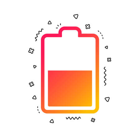 Battery half level sign icon. Low electricity symbol. Colorful geometric shapes. Gradient battery icon design.  Vector