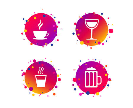 Drinks icons. Coffee cup and glass of beer symbols. Wine glass sign. Gradient circle buttons with icons. Random dots design. Vector Ilustracja