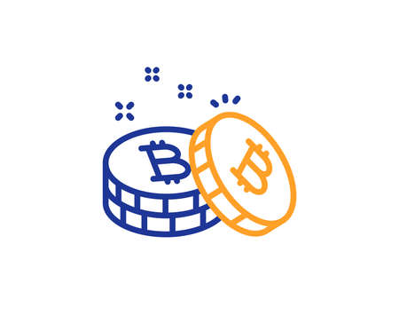 Bitcoin line icon. Cryptocurrency coin sign. Crypto money symbol. Colorful outline concept. Blue and orange thin line color Bitcoin icon. Vector Ilustracja