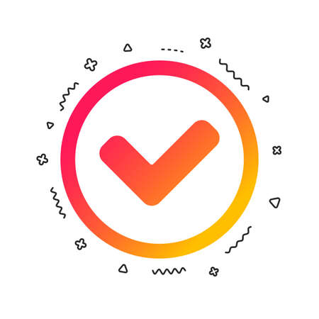 Check mark sign icon. Yes circle symbol. Confirm approved. Colorful geometric shapes. Gradient tick icon design.  Vector Illustration
