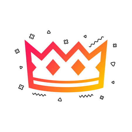 Crown sign icon. King hat symbol. Colorful geometric shapes. Gradient crown icon design.  Vector