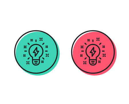 Inspiration line icon. Creativity light bulb with lightning bolt sign. Graphic art symbol. Positive and negative circle buttons concept. Good or bad symbols. Inspiration Vector Ilustracja