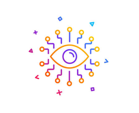 Artificial intelligence line icon. All-seeing eye sign. Gradient line button. Artificial intelligence icon design. Colorful geometric shapes. Vector