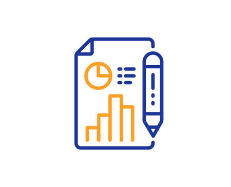 Report document line icon. Column graph sign. Growth diagram, pie chart symbol. Colorful outline concept. Blue and orange thin line color Report document icon. Vector
