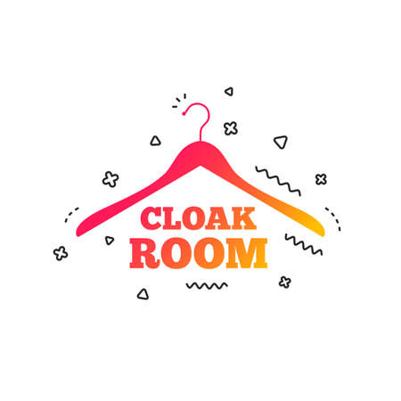 Cloakroom sign icon. Hanger wardrobe symbol. Colorful geometric shapes. Gradient cloakroom icon design.  Vector