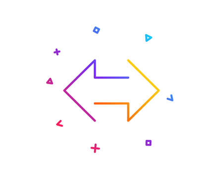 Sync arrows line icon. Communication Arrowheads symbol. Navigation pointer sign. Gradient line button. Sync icon design. Colorful geometric shapes. Vector Stock Vector - 112887787
