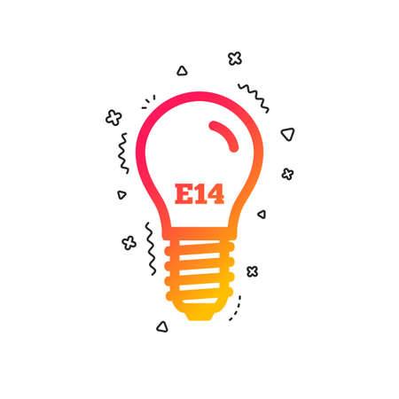 Light bulb icon. Lamp E14 screw socket symbol. Led light sign. Colorful geometric shapes. Gradient E14 lamp icon design.  Vector Illustration