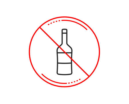 No or stop sign. Wine bottle line icon. Merlot or Cabernet Sauvignon sign. Caution prohibited ban stop symbol. No  icon design.  Vector Illustration